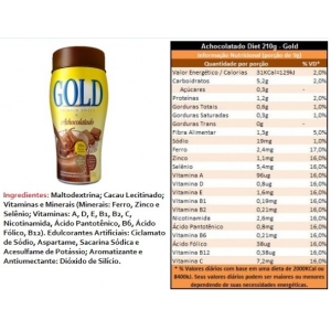 ACHOCOLATADO DIET 200GRS GOLD NUTRITION
